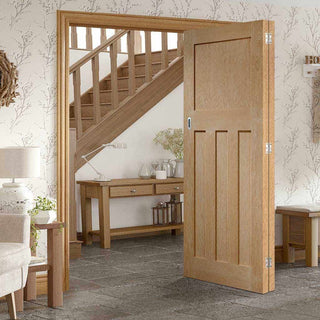 Image: Two Folding Doors & Frame Kit - DX Oak 1930's Panel 2+0 - Unfinished