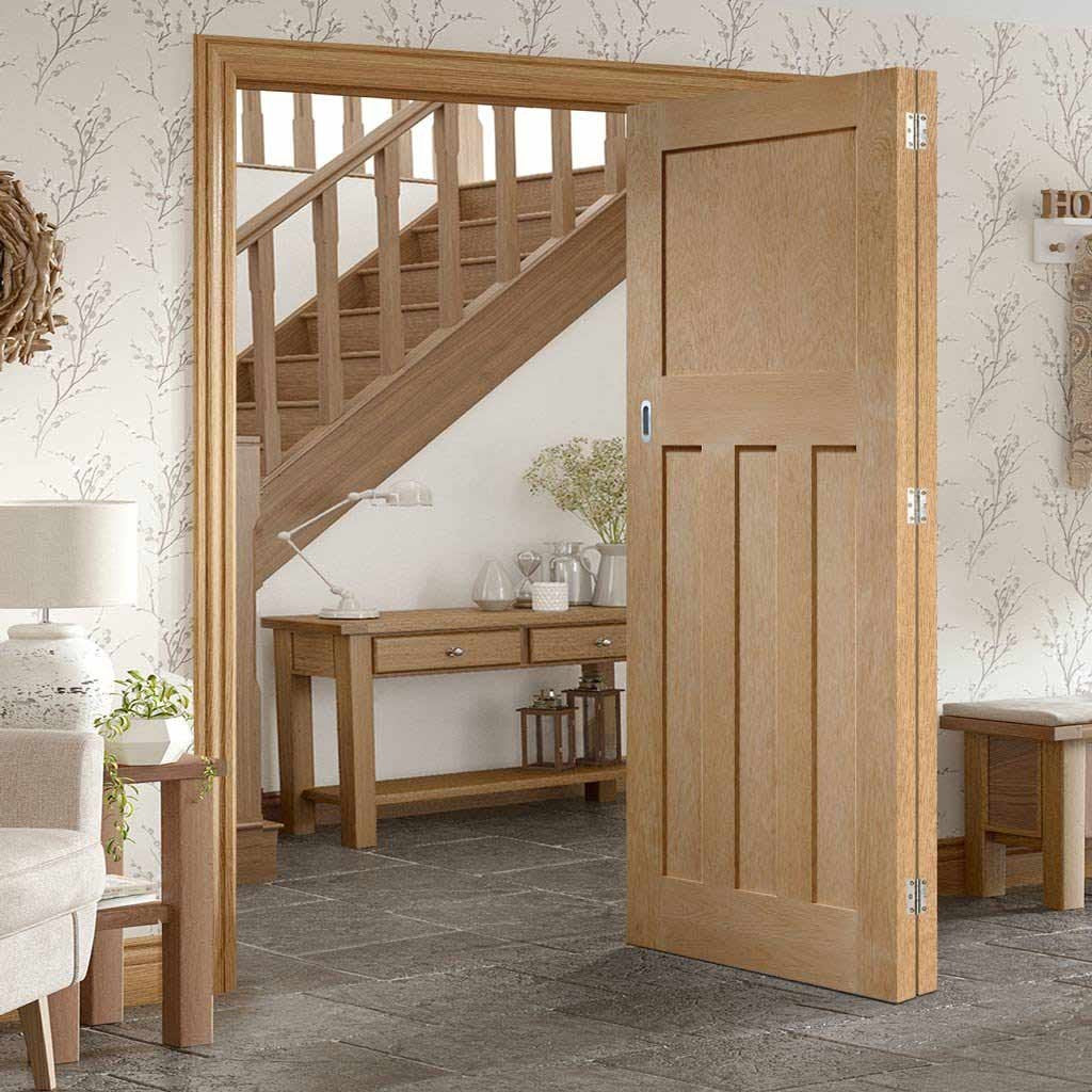 Bespoke Thrufold DX 1930'S Oak Panel Folding 2+0 Door - Prefinished