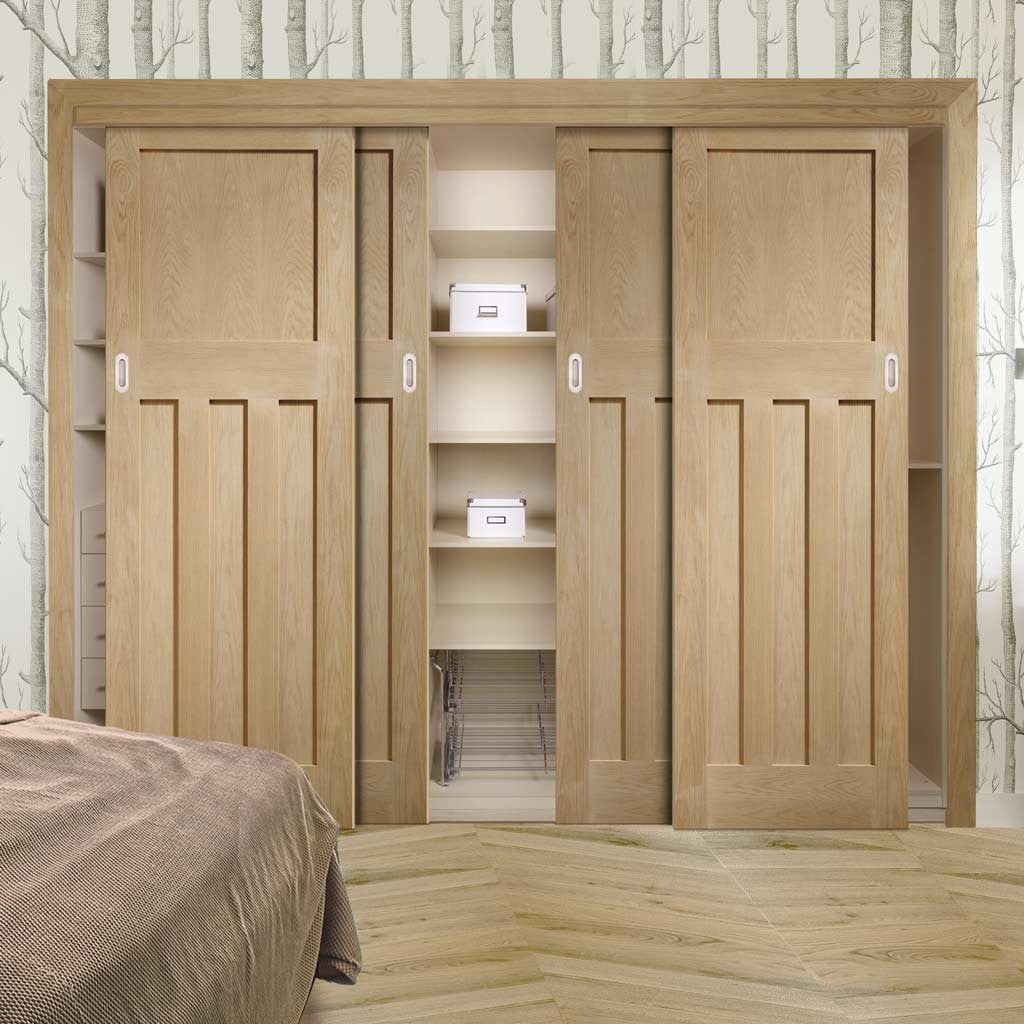 Four Sliding Wardrobe Doors & Frame Kit - DX 1930'S Oak Panel Door - Prefinished