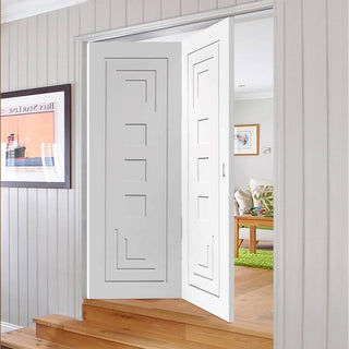 Image: Thrufold Altino Flush 2+0 Folding Door - White Primed