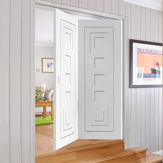 Image: Bespoke Thrufold Altino White Primed Flush Folding 2+0 Door
