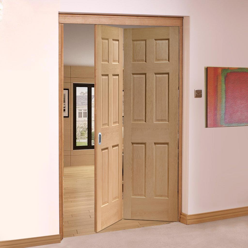 Bespoke Thrufold Colonial Oak 6 Panel Folding 2+0 Door - No Raised Mouldings