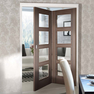 Image: Two Folding Doors & Frame Kit - Vancouver 4 Pane Chocolate Grey 2+0 - Clear Glass - Prefinished