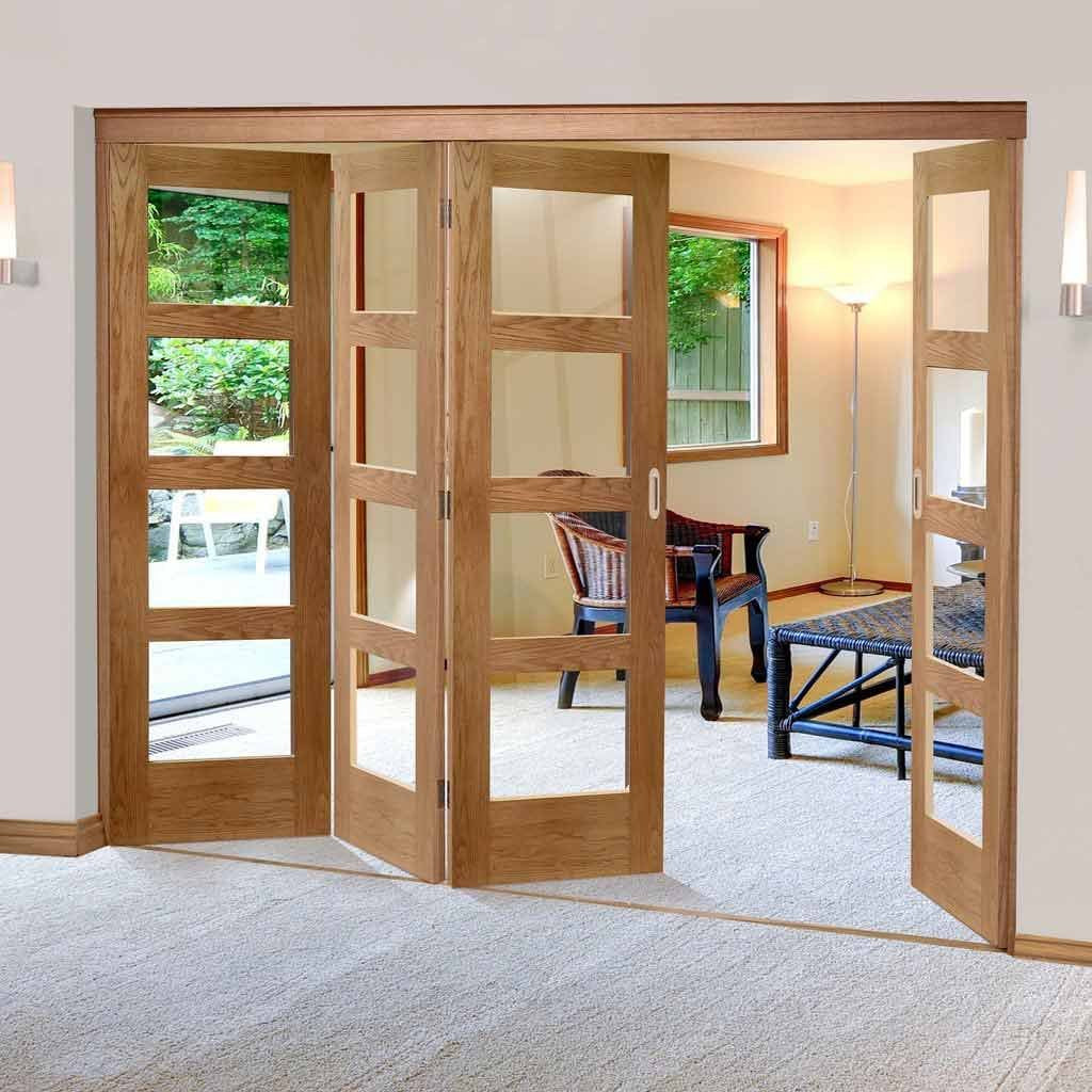 Four Folding Doors & Frame Kit - Shaker Oak 4 Pane 3+1 - Clear Glass - Prefinished
