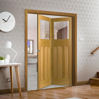 Image: Bespoke Thrufold DX Oak 1930's Style Glazed Folding 2+0 Door