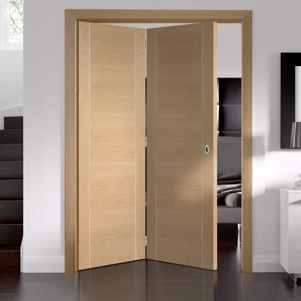 Bespoke Thrufold Forli Oak Flush Folding 2+0 Door - Aluminium Inlay - Prefinished