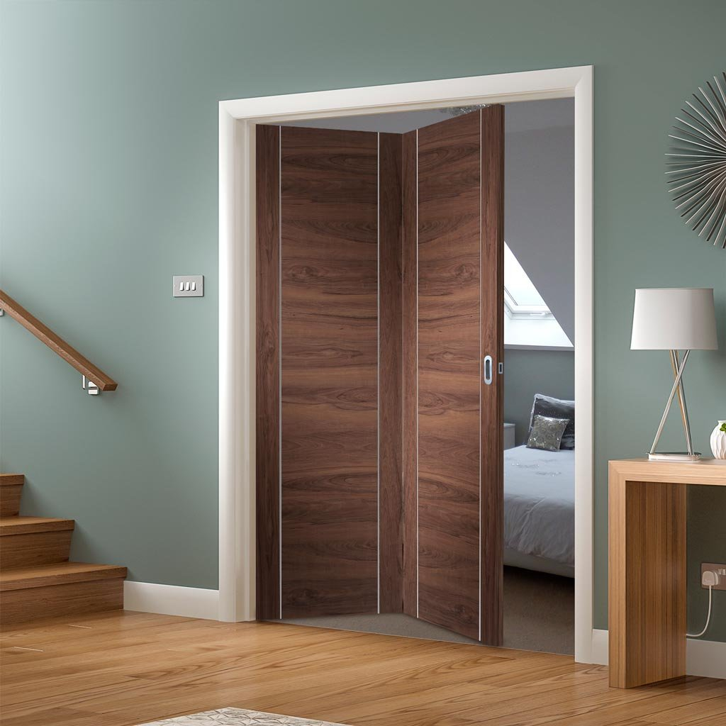 Bespoke Thrufold Forli Walnut Flush Folding 2+0 Door - Aluminium Inlay - Prefinished