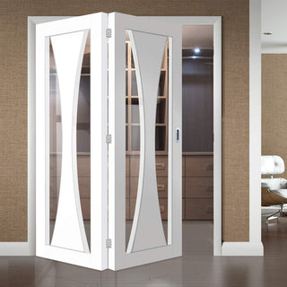 Image: Two Folding Doors & Frame Kit - Verona 2+0 - Clear Glass - White Primed