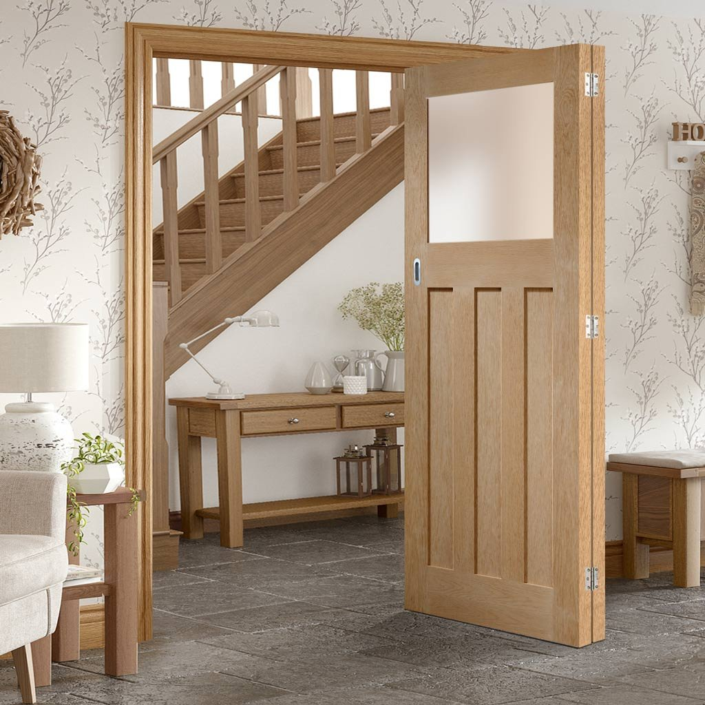 Bespoke Thrufold DX 1930's Oak Glazed Folding 2+0 Door - Prefinished