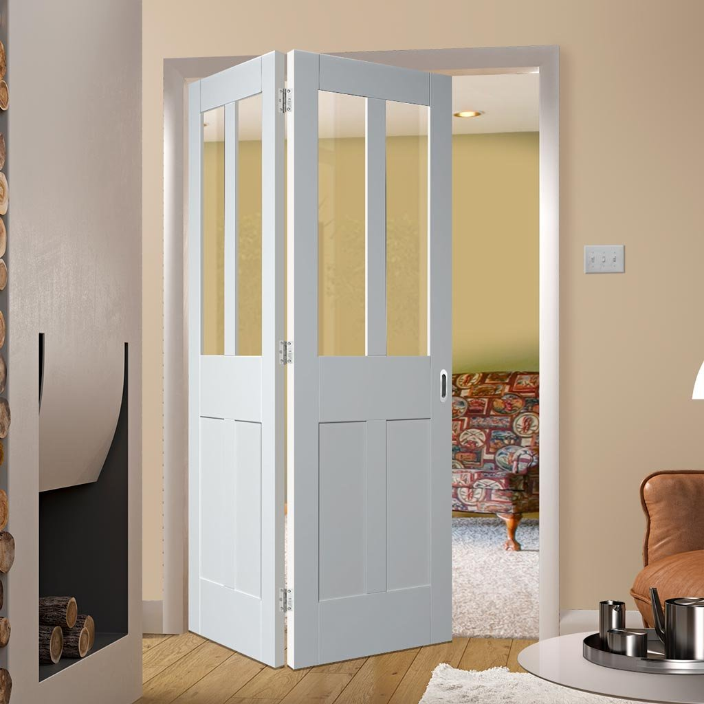 Bespoke Thrufold Malton Shaker White Primed Glazed Folding 2+0 Door