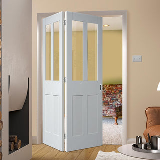 Image: Bespoke Thrufold Malton Shaker White Primed Glazed Folding 2+0 Door