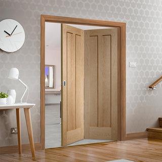 Image: Bespoke Thrufold Novara Oak 2 Panel Folding 2+0 Door