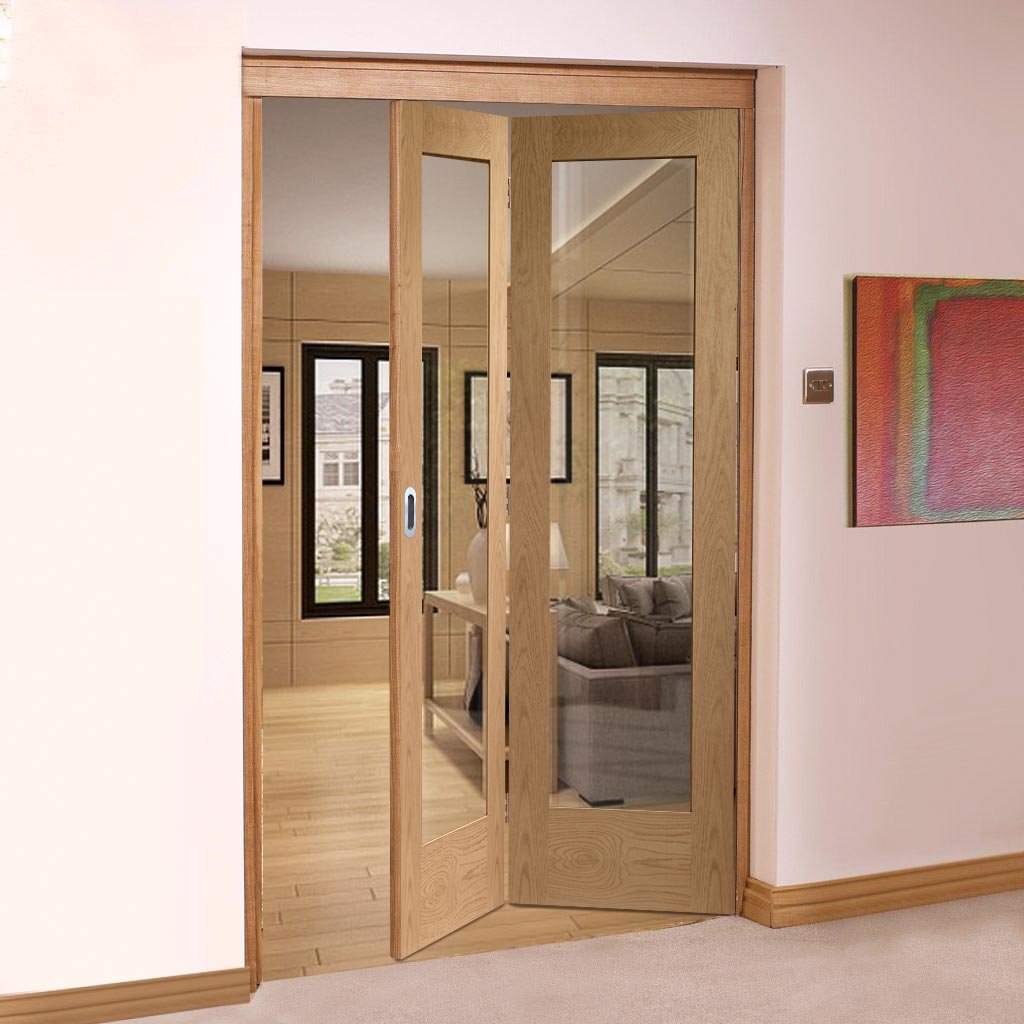 Bespoke Thrufold Pattern 10 1L Shaker Oak Glazed Folding 2+0 Door