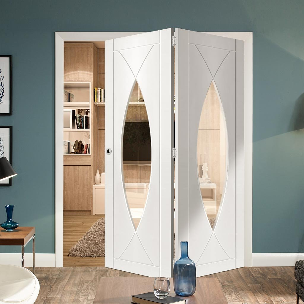 Bespoke Thrufold Pesaro White Primed Glazed Folding 2+0 Door