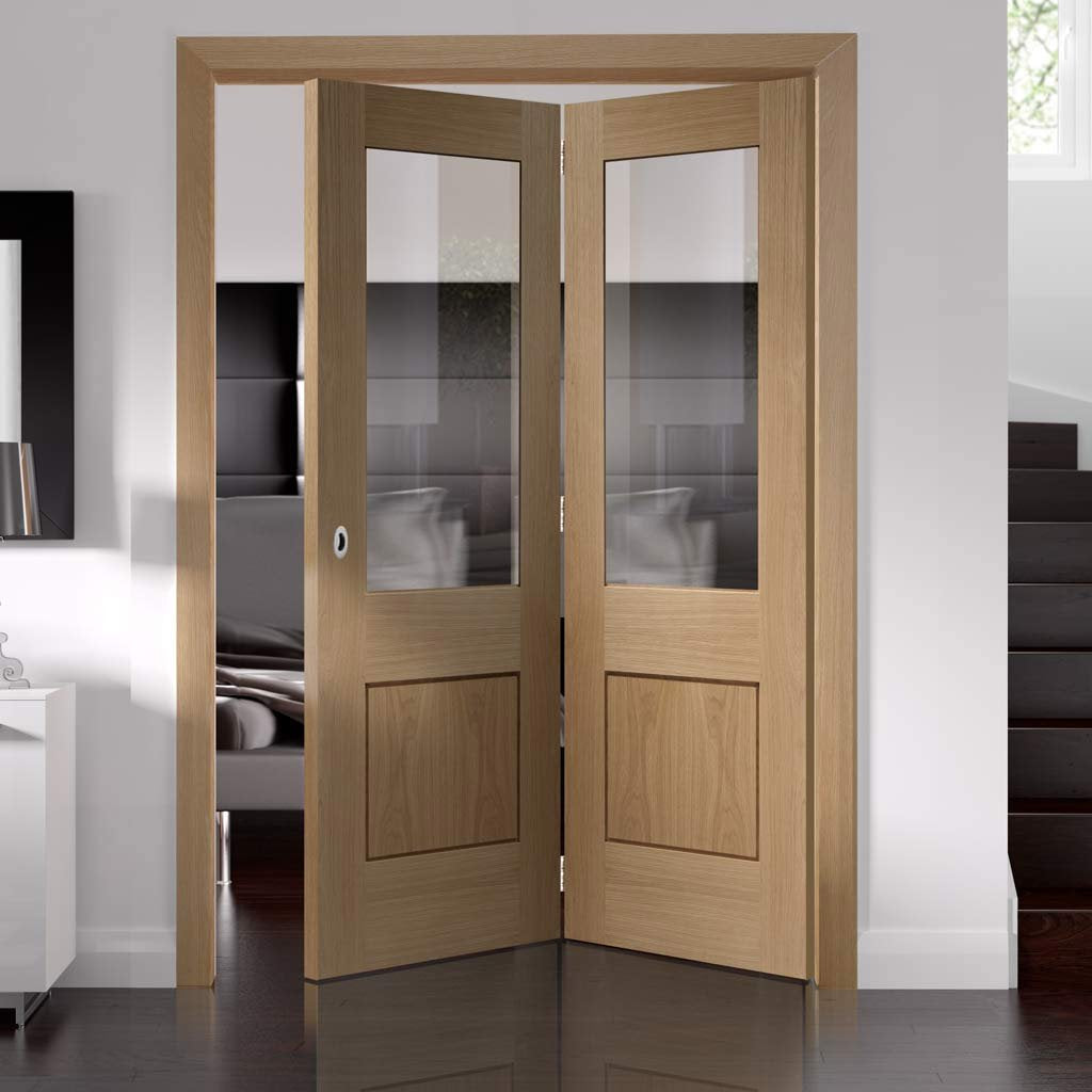 Bespoke Thrufold Piacenza Oak 1 Panel Glazed Folding 2+0 Door - Groove Design