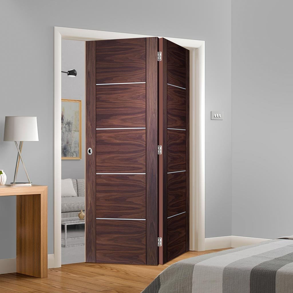 Bespoke Thrufold Portici Walnut Flush Folding 2+0 Door - Aluminium Inlay - Prefinished