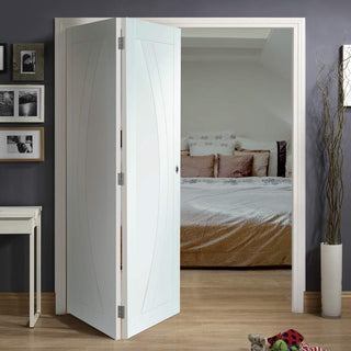 Image: Bespoke Thrufold Salerno White Primed Flush Folding 2+0 Door