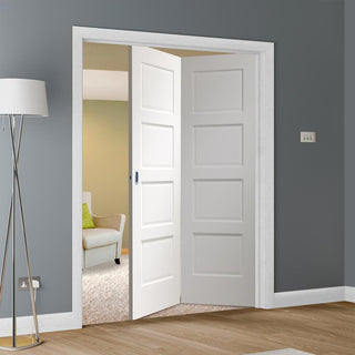 Image: Two Folding Doors & Frame Kit - Severo White 4 Panel 2+0 - Prefinished