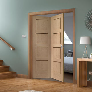 Image: Bespoke Thrufold Shaker Oak 4 Panel Folding 2+0 Door