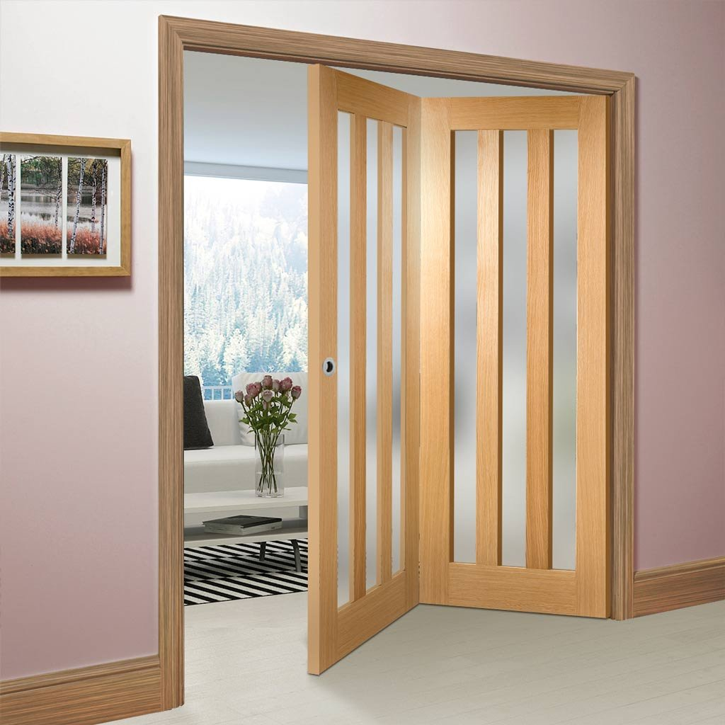 Two Folding Doors & Frame Kit - Utah 3 Pane Oak 2+0 - Frosted Glass - Unfinished