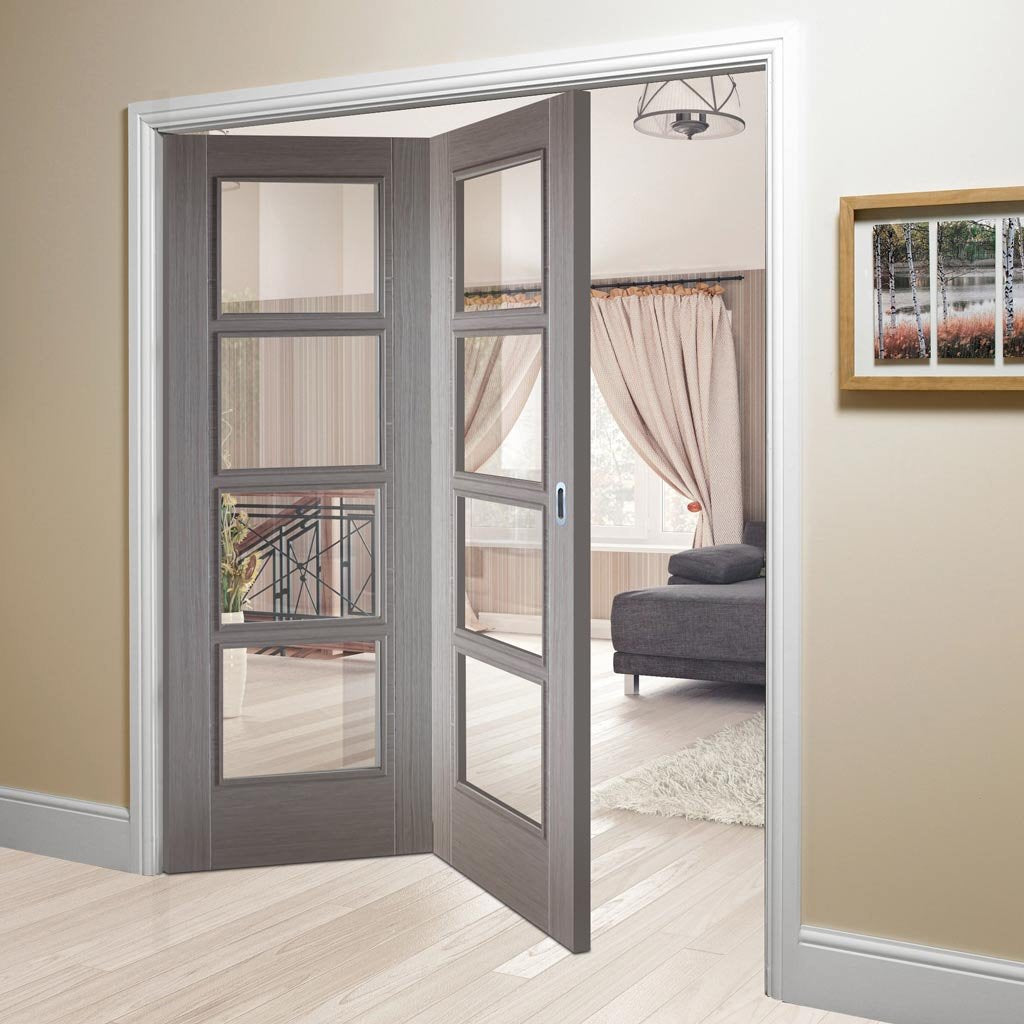 Two Folding Doors & Frame Kit - Vancouver Light Grey 2+0 - Clear Glass - Prefinished