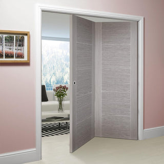 Image: Thrufold Vancouver Light Grey 2+0 Folding Door - Prefinished