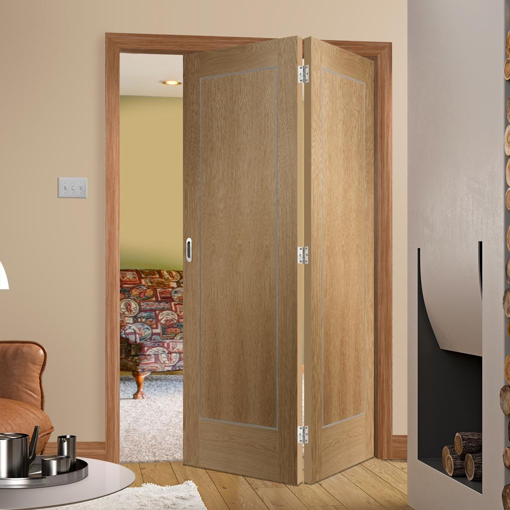 Bespoke Thrufold Varese Oak Flush Folding 2+0 Door - Aluminium Inlay - Prefinished
