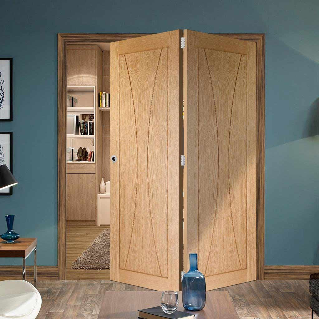 Two Folding Doors & Frame Kit - Verona Oak Flush 2+0 - Unfinished