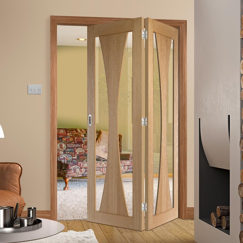 Bespoke Thrufold Verona Oak Glazed Folding 2+0 Door - Prefinished