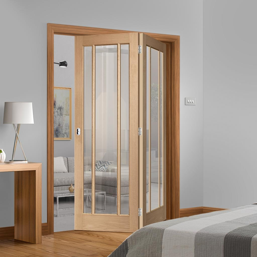 Bespoke Thrufold Worcester Oak 3L Glazed Folding 2+0 Door - Prefinished