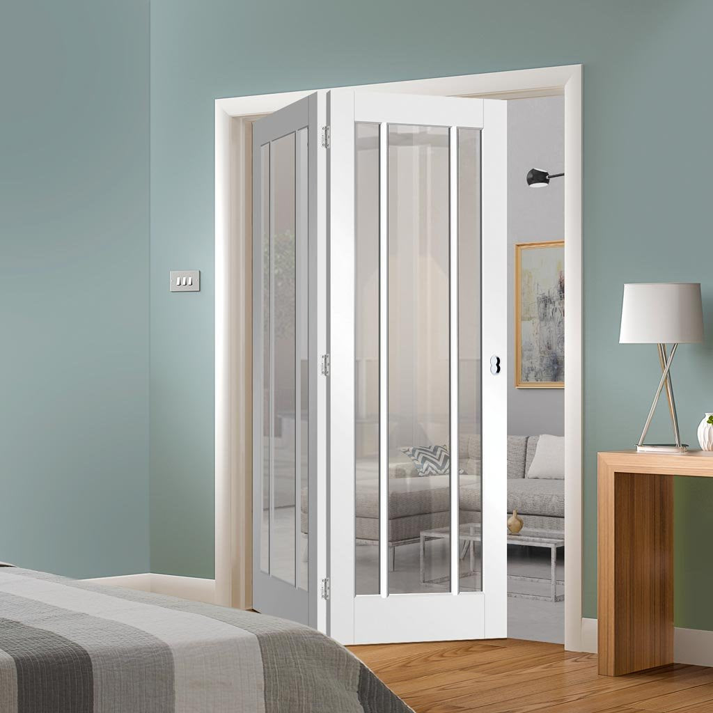 Two Folding Doors & Frame Kit - Worcester 3 Pane 2+0 - Clear Glass - White Primed