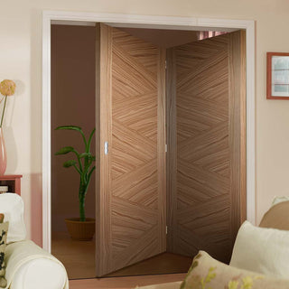 Image: Thrufold Zeus Flush Walnut 2+0 Folding Door - Prefinished