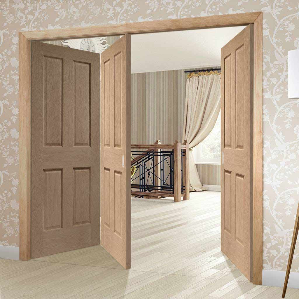 Three Folding Doors & Frame Kit - Victorian Oak 4 Panel 2+1 - No Raised Mouldings - Prefinished