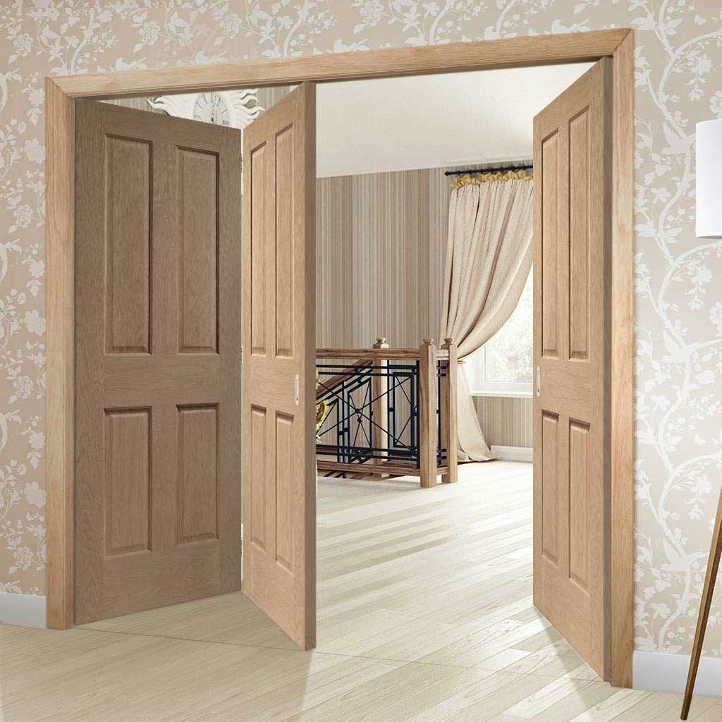 Bespoke Thrufold Victorian 4P Oak Shaker Folding 2+1 Door