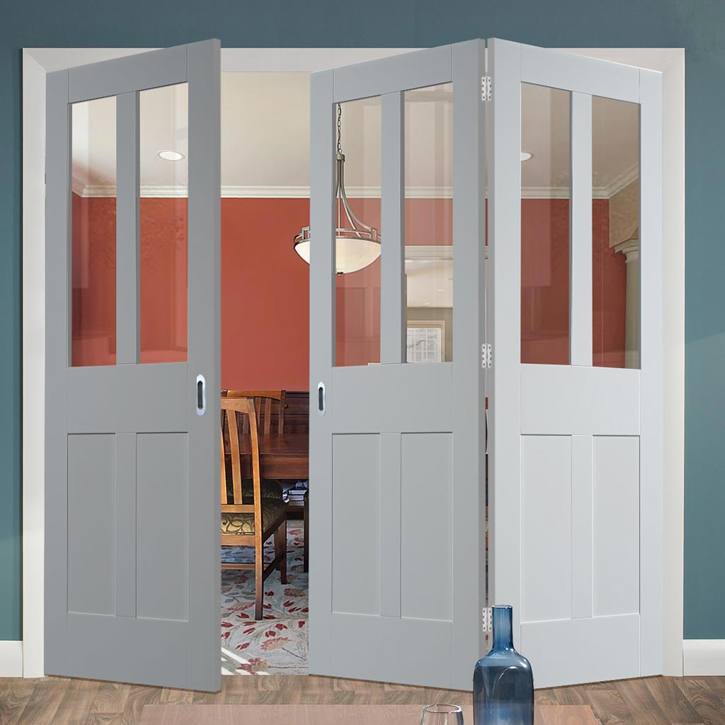 Bespoke Thrufold Malton Shaker White Primed Glazed Folding 2+1 Door