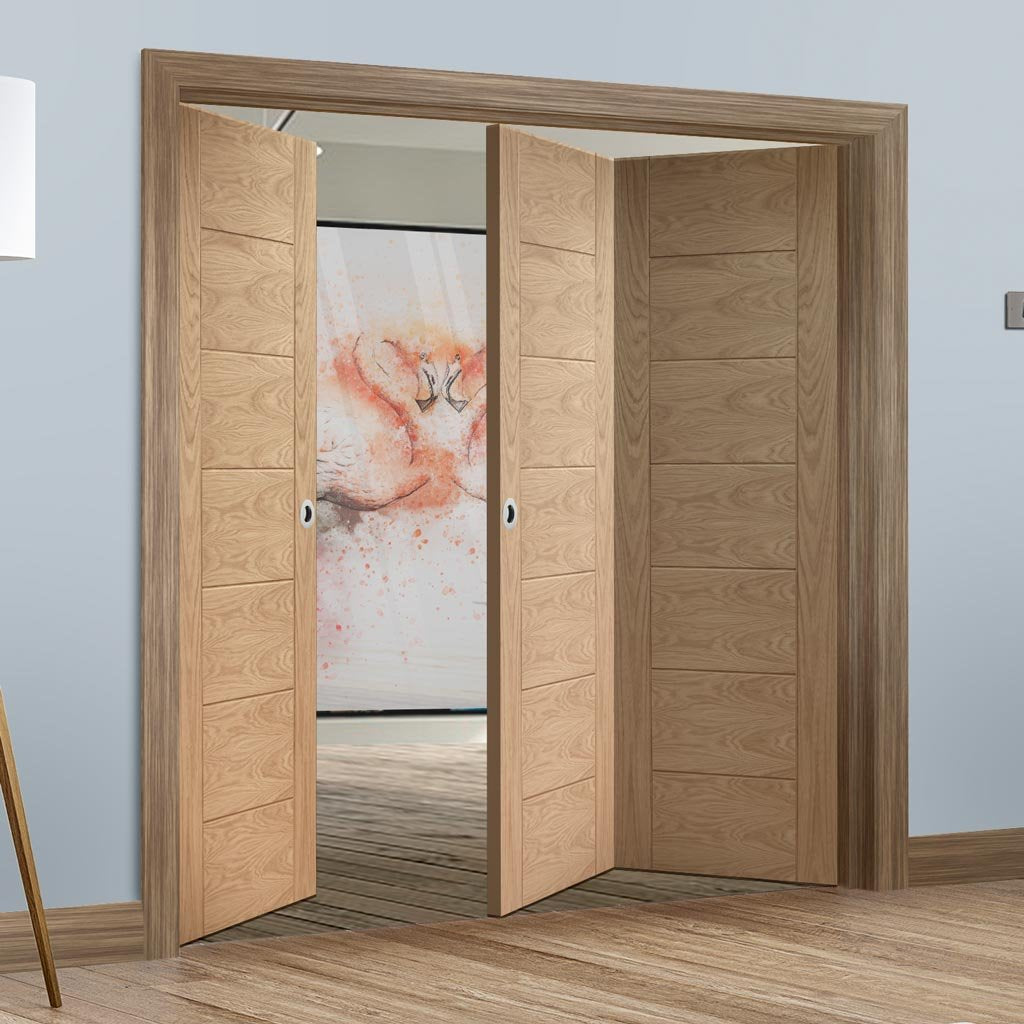 Bespoke Thrufold Palermo Oak Folding 2+1 Door - Panel Effect - Prefinished