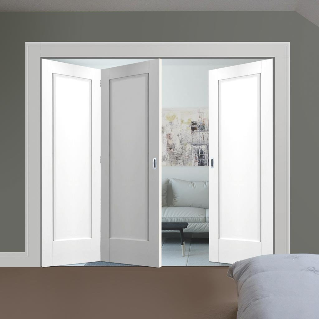 Bespoke Thrufold Pattern 10 1P White Primed Folding 2+1 Door