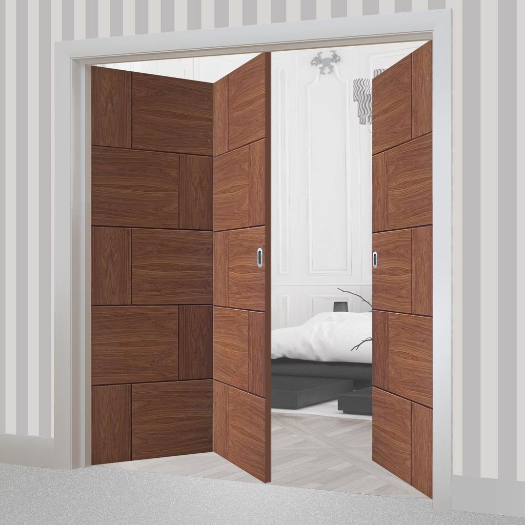 Bespoke Thrufold Ravenna Walnut Flush Folding 2+1 Door - Prefinished