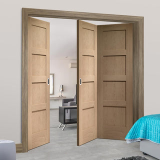 Image: Bespoke Thrufold Shaker Oak 4 Panel Folding 2+1 Door