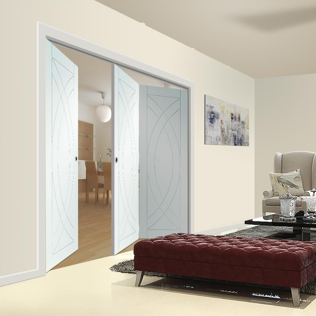 Bespoke Thrufold Treviso White Primed Flush Folding 2+1 Door
