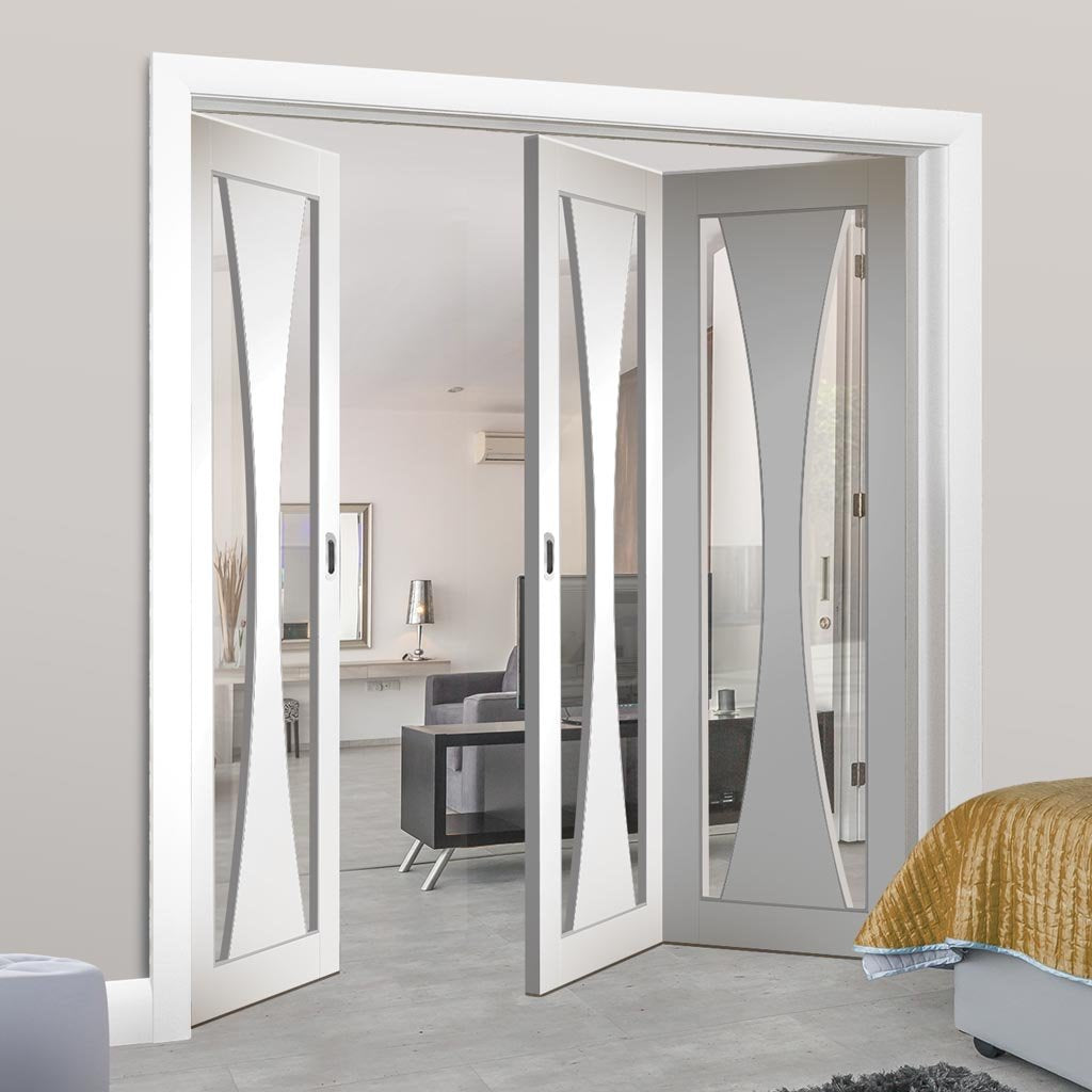 Bespoke Thrufold Verona White Primed Glazed Folding 2+1 Door