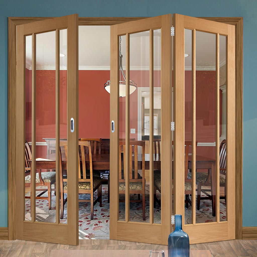 Bespoke Thrufold Worcester Oak 3 Pane Glazed Folding 2+1 Door - Prefinished