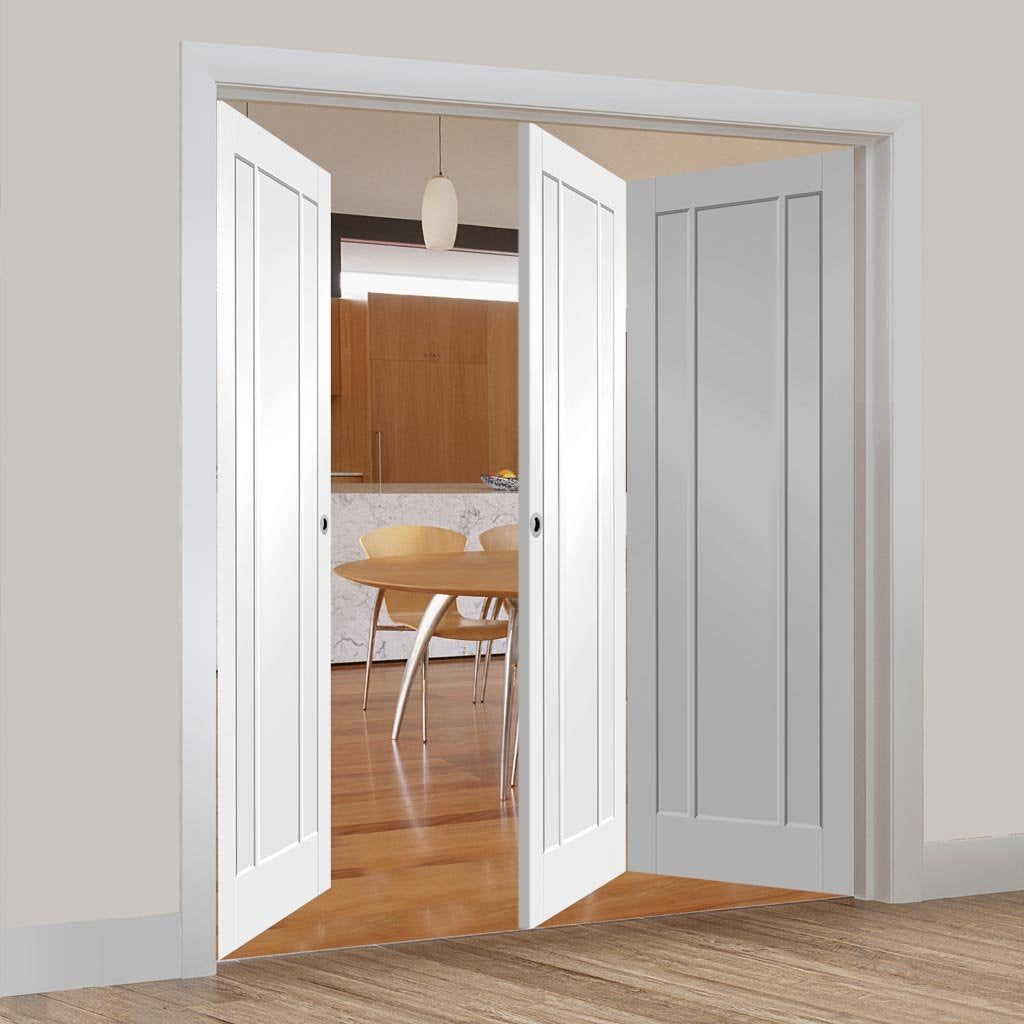 Bespoke Thrufold Worcester White Primed 3P Folding 2+1 Door