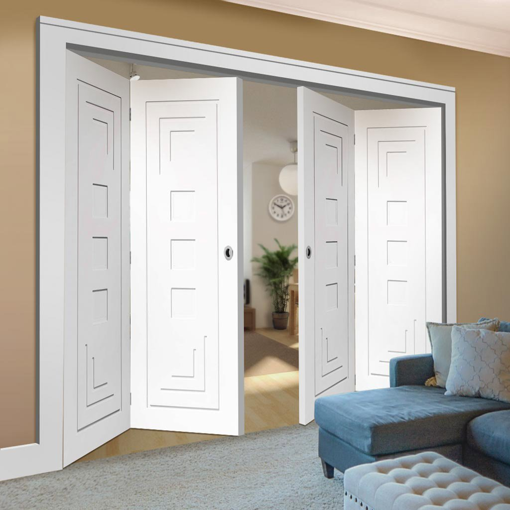 Bespoke Thrufold Altino White Primed Flush Folding 2+2 Door