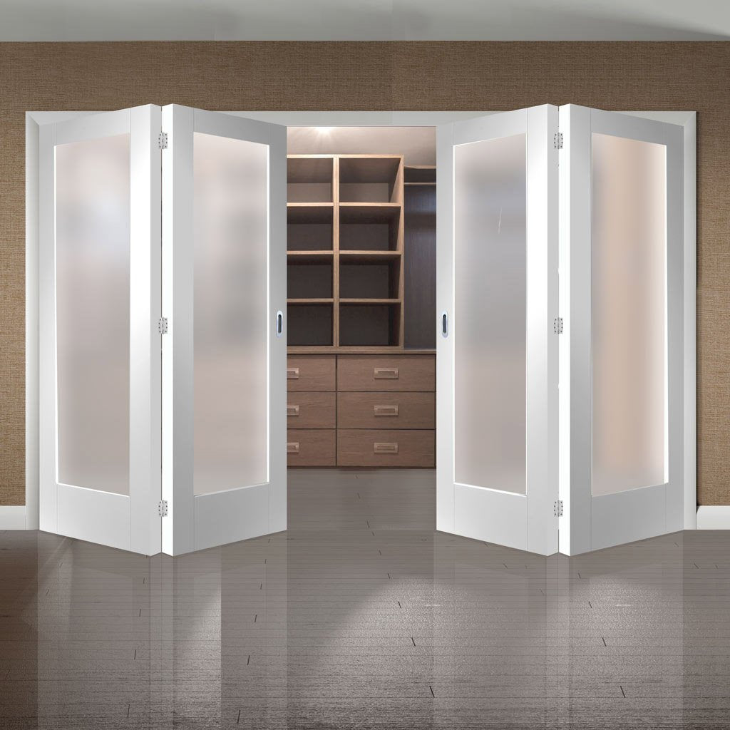 Bespoke Thrufold Pattern 10 1L White Primed Glazed Folding 2+2 Door