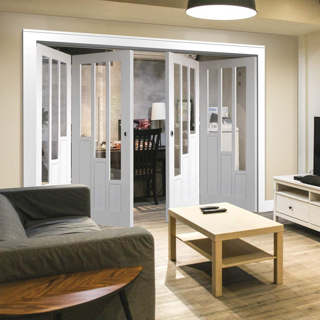 Four Folding Doors & Frame Kit - Coventry 2+2 - Clear Glass - White Primed