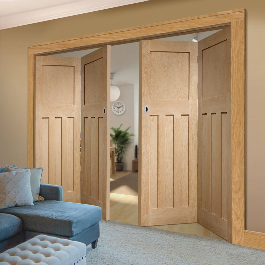 Bespoke Thrufold DX 1930'S Oak Panel Folding 2+2 Door - Prefinished