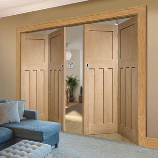 Image: Bespoke Thrufold DX 1930'S Oak Panel Folding 2+2 Door - Prefinished