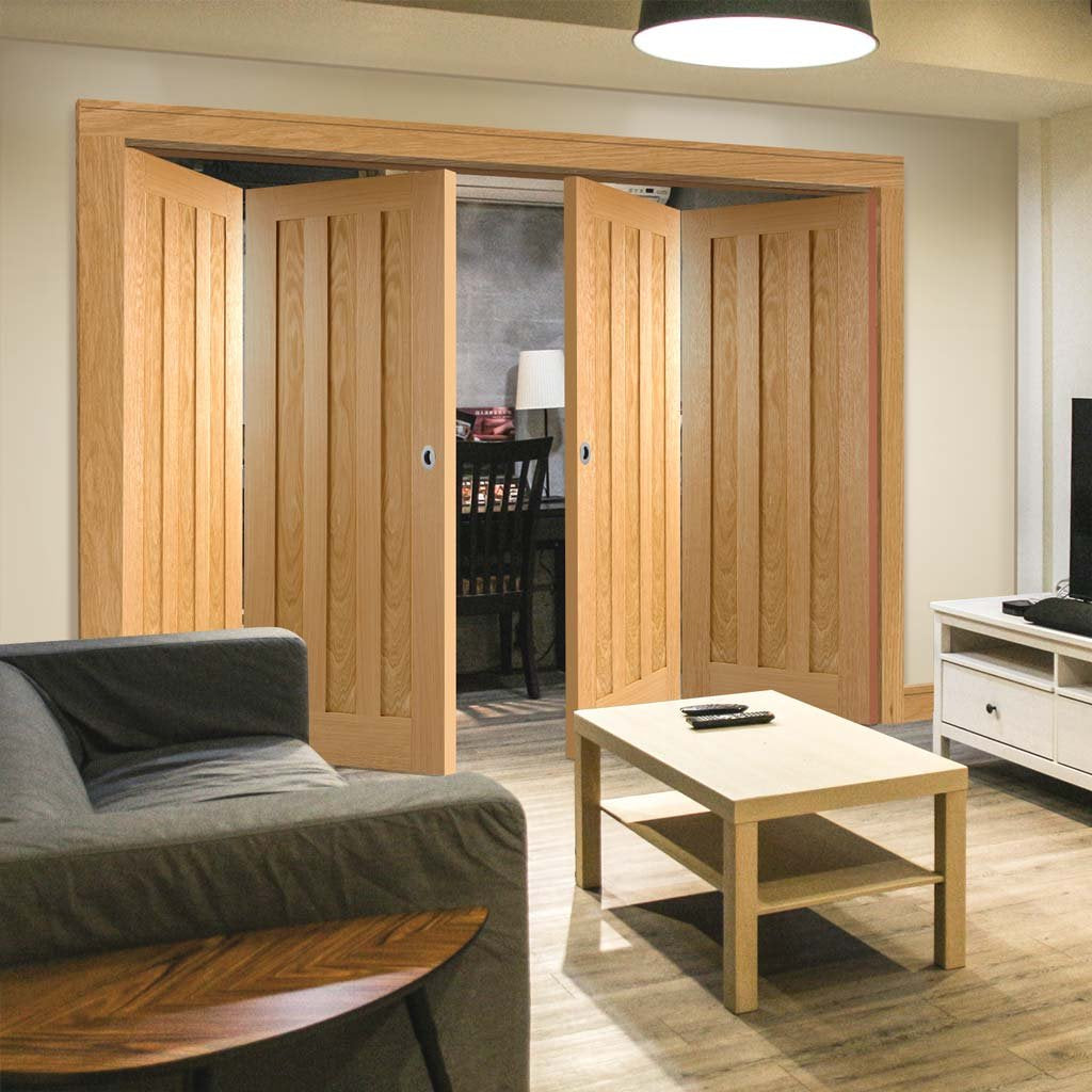 Four Folding Doors & Frame Kit - Idaho 3 Panel Oak 2+2 - Unfinished