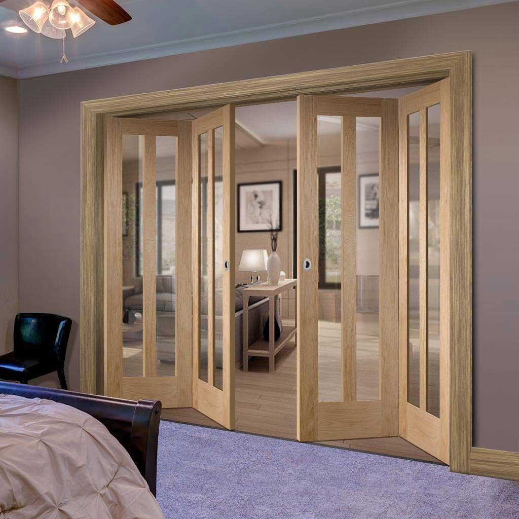 Bespoke Thrufold Novara Oak Glazed Folding 2+2 Door